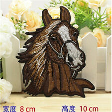 Horse Brown Racing Mustang Iron On Patches Embroidered Sewing Applique Badge DIY