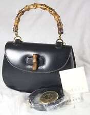 "GUCCI VINTAGE NAVY LAMBSKIN LEATHER ""BAMBOO HANDLE"" BAG"