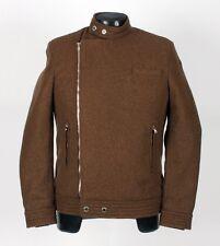 $2880 - BRUNELLO CUCINELLI 100% WOOL Moto Jacket Coat - Brown - Small / Medium