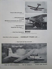 3/1961 PUB HANDLEY PAGE DART HERALD BOAC IMPERIAL AIRWAYS OVERSEAS AIR LINES AD