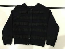 Marc by Marc Jacobs wool cashmere navy blue black silk trim buttons cardigan M