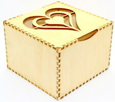 Personalised large wooden jewellery box with heart design
