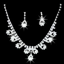 Fancy Silver Clear Crystal Wedding Prom Necklace Earring Set Free Gift Bag