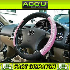 Pink Black Mesh Look Fabric Car Steering Wheel Cover Steering Wheel Protector