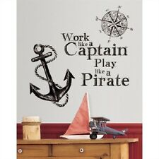 WORK LIKE A CAPTAIN wall sticker MURAL Quote 10 decal PLAY PIRATE ANCHOR compass