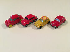 Lot of 4 VW Volkswagen Beetle Diecast Model Cars Matchbox Zylmex Maisto 1:64
