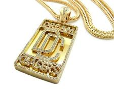 ICED OUT DREAM CHASERS PENDANT FRANCO CHAIN NECKLACE MEEK MILL HIP HOP GOLD
