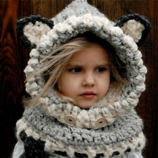 Toddler Baby Girl Boy Winter Warm Fox Hooded Scarf Hat Wool Knitted Crochet Cap