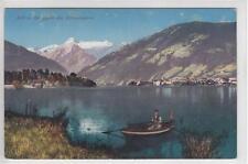 AK Zell am See gegen Kitzsteinhorn, Ruderboot, 1910