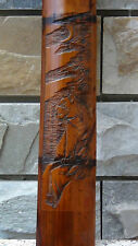 """ANTIQUE 19C CHINESE HAND CARVED BAMBOO WALL PLAQUE """"TIGER"""",SIGNED BY ARTIST"""