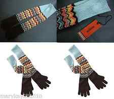 MISSONI FOR TARGET WOOL KNIT LONG POINTELLE GLOVES MULTI COLOR ZIG ZAG