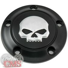 Black & Chrome Custom Skull Timing 5-Hole Point Cover for 99-16 Harley Big Twin