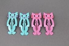 Aqua Pink cat kitty kitten 4 hair clips painted metal snap barrette click clip