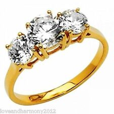 Three-Stone Round Brilliant cut Anniversary Ring real 14K SOLID Yellow gold