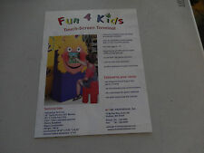 FUN 4 KIDS TOUCH SCREEN E-FUN    arcade game flyer