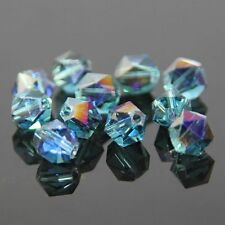 12 Pieces Swarovski  6mm split facet Crystal beads E Sky blue+Purple plated