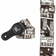 Pop art comic book inspired Guitar Strap BROWN White modern museum arty new UK!