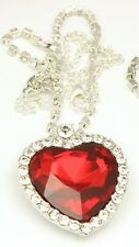 Valentines Day Love Gift Heart of Ocean Titanic Pendent Necklace for Women Red