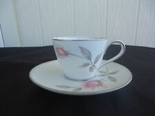 noritake bone china  rosemarie cup and saucer  pink and grey rose