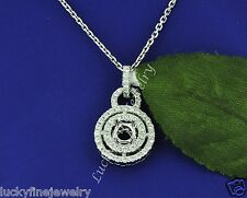 CIRCLE 0.60 ct SEMI MOUNT DIAMOND  PENDANT white gold 18k setting  fits 5mm