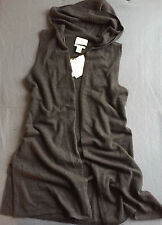 Cynthia Rowley 100% 2-Ply Cashmere Long Cardigan Hooded Vest BROWN M