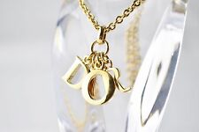 """CHRISTIAN DIOR GOLD PLATED WITH BRASS 17.71"""" CHAIN DIOR LOGO PENDANT NECKLACE"""