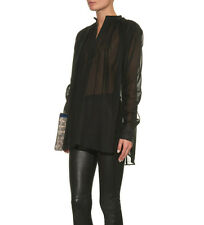 Helmut Lang Cotton Voile Poet Shirt Blouse in Black Size XS