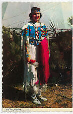Indian Maiden Native American girl traditional clothes Vintage postcard teepee R