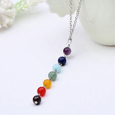 Women 7 Chakra Color Round Beads Lined Chain Yoga Reiki Healing Pendant Necklace