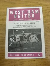 06/04/1968 West Ham United v Newcastle United  (Creased, Team Changes).  This it