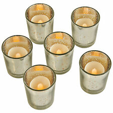 VonHaus Flameless Vintage LED Battery Tea Light Candles & Glass Holder Set of 6
