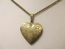 "UK Jewellery Bronze Style Heart Photo Locket + 18"" Curb Necklace Pendant Chain"