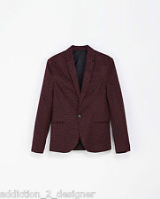 Zara Man Stylish Printed Blazer / Jacket ,Short Patterned Black Burgundy Size L