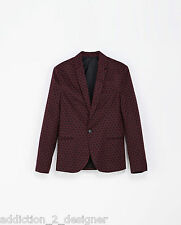 Zara Man Stylish Printed Blazer / Jacket ,Short Patterned Black Burgundy Size S