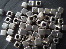 100 Silver 3mm square / cube spacer beads (lead free) Tibetan style