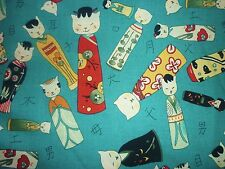 OFFCUT KITTY KOKESHI CAT KOKESHI DOLLS FABRIC JAPANESE