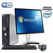 Dell Dual Core para desktop Torre de PC Computadora TFT conjunto con Windows 7 Wifi vendedor del Reino Unido