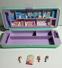 Polly Pocket Pencil Case Compact Bluebird Vtg 1990 with 3 Dolls & Sharpener