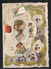 Hand Made Victorian Valentine ~ Elizabethan Beauty~Pansies~Paper Lace~Love Poem