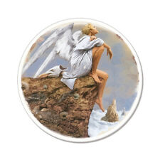 "Angel Thinking Christian Spiritual car bumper sticker decal 4"" x 4"""