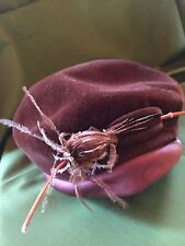 Antique Womens Hat 1920's Brown Velvet  with feathered and rhinestone pin decor