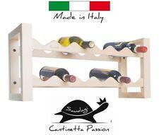 Portabottiglie vino cantinetta in legno mobile massello 12 posti Saudagi Natural
