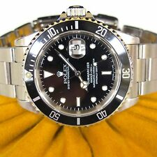 Rolex Submariner Date Black Dial 40MM Automatic Mens Steel Oyster Watch 16610