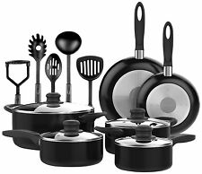 New Vremi 15 Pcs Nonstick Cookware Set Black - Cooking Utensils Pots and Pans