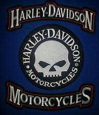 Harley Davidson Rockers with Extra Large 9'' round Willey G Skull Patch