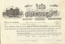 Page & Shaw Candy   1918 Massachusetts stock certificate signed Shaw & Dunham