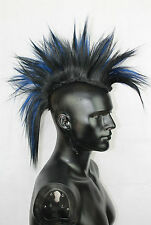 Black, Blue Mohawk Hair Pieces. Goth Cosplay Mad-Max Halloween Costume Mens Wig
