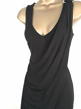 New KAREN MILLEN Jersey Draped Dress Black Size 8