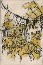 STREET CELEBRATION IMPRESSIONIST Watercolour Painting c1950