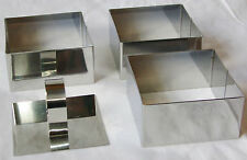 NEW 3 ROSTI FOOD RINGS STAMP & PRESS MOULD SHAPER STAINLESS STEEL SQUARE EDCO L